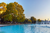 Sunset at Singing Fountains in City of Plovdiv