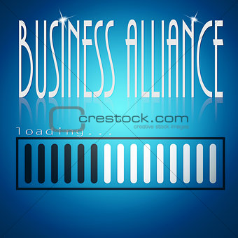 Blue loading bar with business alliance word