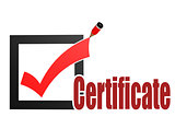 Check mark with certificate word
