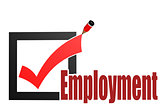 Check mark with employment word
