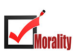 Check mark with morality word