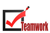 Check mark with teamwork word
