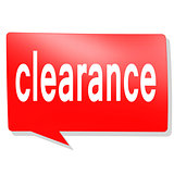 Clearance word on red speech bubble