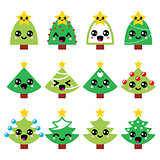 Cute Kawaii Christmas green tree with star vector icons set