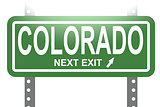 Colorado green sign board isolated