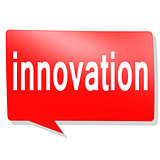 Innovation word on red speech bubble