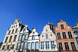 Facade of 18th century buildings in Mechelen, Belgium.