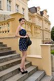 elegant girl on old staircase
