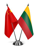 China and Lithuania - Miniature Flags.
