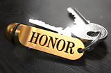 Honor - Bunch of Keys with Text on Golden Keychain.