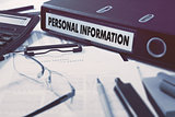 Personal Information on Ring Binder. Blured, Toned Image.