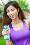 Chinese Asian Woman Girl Exercising With Weights