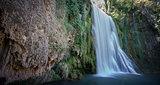 Long exposure of waterfall at Monasterio de Piedra, Spain