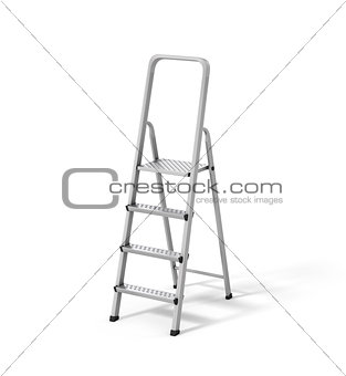 Aluminum stepladder on a white background.