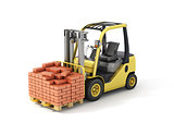 Forklift truck with bricks.