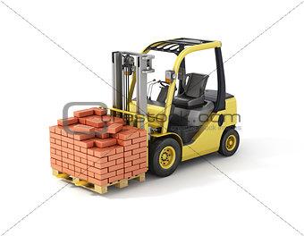 Forklift truck with bricks.