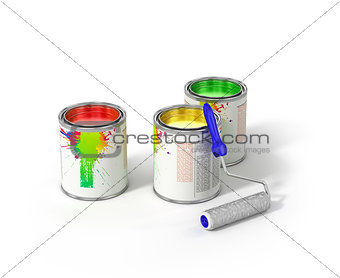 Group of can paints and roller brush.