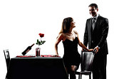 couples lovers dating romantic  dinner silhouettes