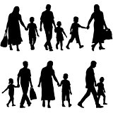 Black silhouettes Family on white background. Vector