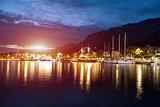 Makarska Riviera in Croatia at night