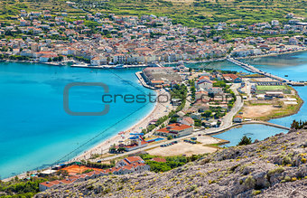 Aerial view of Croatian island of Pag
