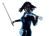 Violinist woman slihouette isolated