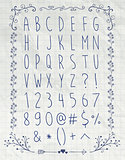 Simple Pen Drawing English Alphabet Letters on Paper