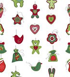 Seamless pattern with Christmas decoration on white. Simple colors.
