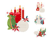 Set of Christmas frames with candles and decoration