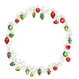 Round Christmas wreath with decoration isolated on white. Simple colors.