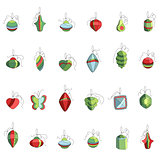 Set of different contour Christmas decoration isolated on white. Simple colors.