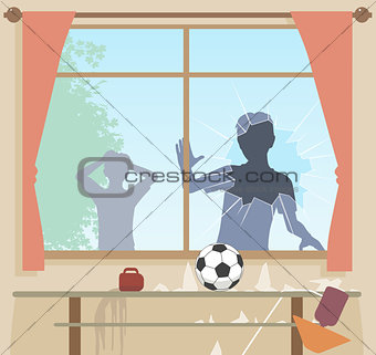 Football breaks window