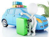 3d white people with car and travel suitcases.