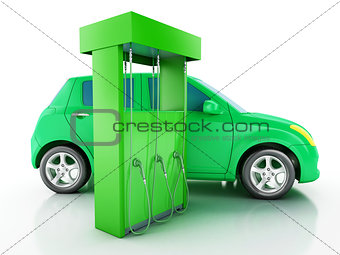 3d electric car at charging station.