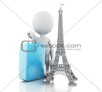 3d White people and Eiffel tower, travel to paris concept.