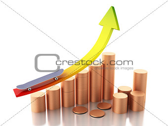 3d gold coins and graph arrow. Success concept