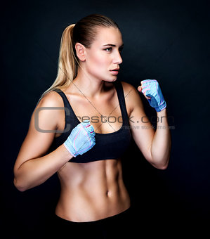 Boxer girl in action