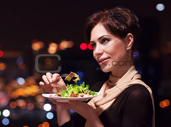 Beautiful woman in the restaurant