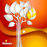 Autumn tree background. Vector illustration