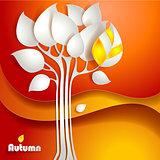 Autumn tree background. Vector illustration