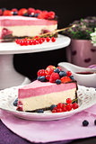 Portion of delicious raspberry cheesecake