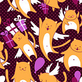Cats with balloons pattern