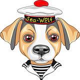 vector cartoon dog Jack Russell Terrier sailor
