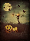 Pumpkin scarecrow in fields at night with vintage look