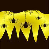 Spiders hang on the web on yellow-black background