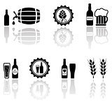 beer isolated objects set with mirror reflection silhouette