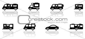caravan or camper van icons set