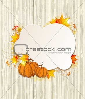 Background with maple leaves and pumpkin