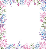 Floral frame with flowers and leaves