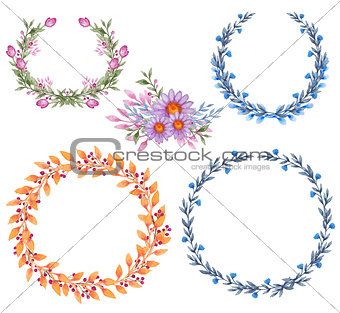 Frames with flowers and leaves